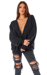PEARL CHAIN V-NECK SWEATSHIRT