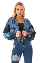SPLICED TIE DYE SLEEVE CROP DENIM JACKET