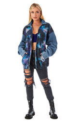 SPLICED CLOUD TIE DYE ZIP UP SWEATSHIRT