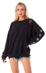 SILVER STAR PATCH RIPPED SWEATSHIRT