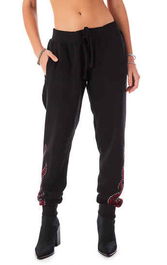 RHINESTONE FLAME SWEATPANTS