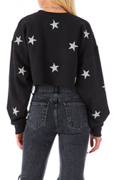 ALLOVER STAR PATCH CROP SWEATSHIRT