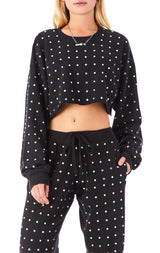 ALLOVER RHINESTONE CROP SWEATSHIRT