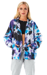 CLOUD TIE DYE STAR PATCH ZIP UP SWEATSHIRT