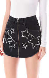 BEATRICE RHINESTONE STAR ZIP FRONT SKIRT