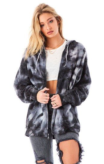 SPIRAL TIE DYE ZIP UP SWEATSHIRT
