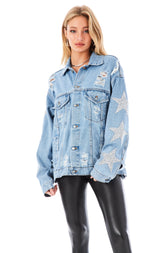 AUDREY LUNA STAR PATCH DENIM JACKET