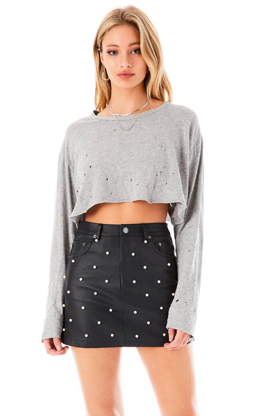ALLOVER PEARL FAUX LEATHER SKIRT
