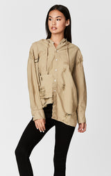 Carmar Denim: DISTRESSED HOOD SHIRT WITH FRONT BUCKLE - WOVEN TOP