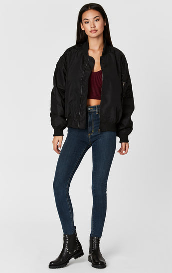CINCHED SLEEVE BOMBER JACKET