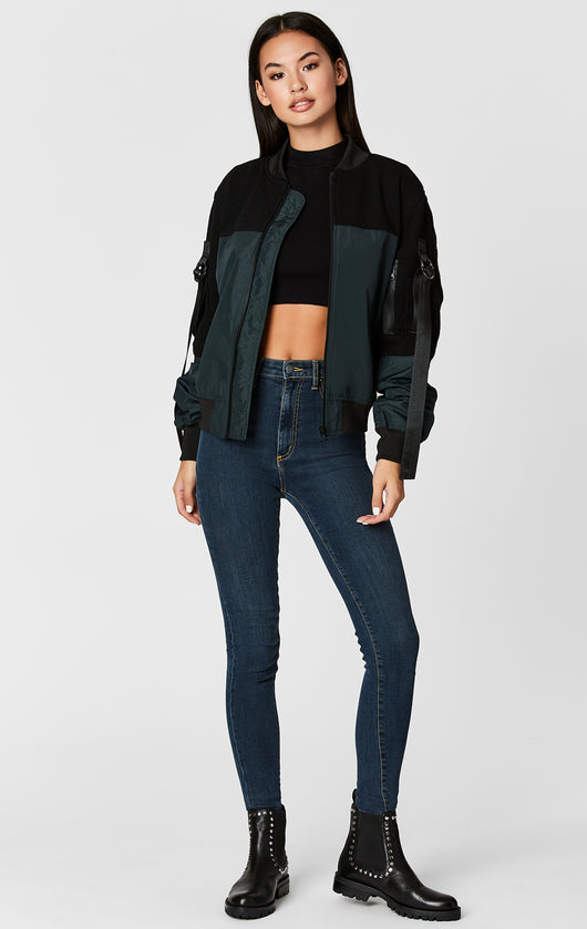 Carmar Denim: CONTRAST BOMBER WITH D-RING TAPE - JACKETS