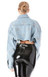 NICHOLAS LUNA CROP DENIM JACKET