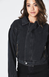 BLACK LEONTES DENIM MOTO JACKET