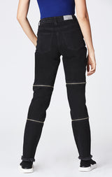 BLACK HORIZONTAL DOUBLE ZIP JULIET JEAN