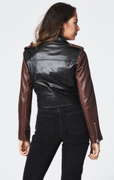Carmar Denim: CROPPED MOTO JACKET WITH CONTRAST SLEEVE - JACKETS