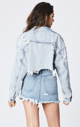 TYBURN CROPPED OVERSIZED DENIM JACKET