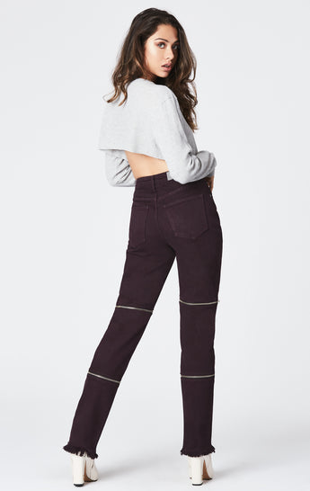 PLUM HORIZONTAL DOUBLE ZIP JULIET JEAN