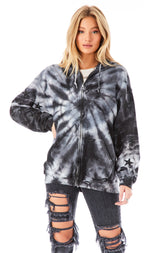 SPIRAL TIE DYE STAR PATCH CLUSTER ZIP UP SWEATSHIRT