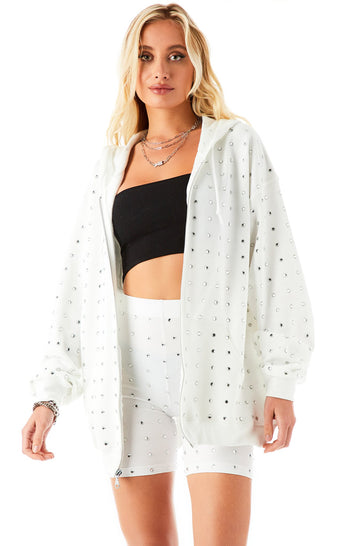 ALLOVER RHINESTONE ZIP UP SWEATSHIRT
