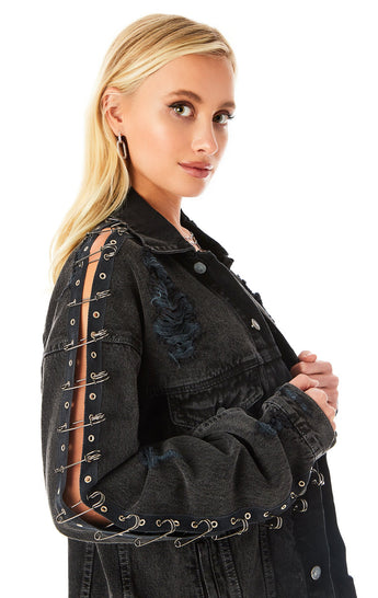 AUDREY SAFETY PIN SLEEVE DENIM JACKET