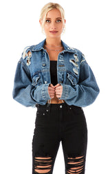 AUDREY TOURMALINE CROP DENIM JACKET