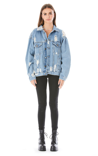 AUDREY RHINESTONE ROSE DENIM JACKET