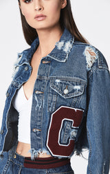 CARN CROPPED OVERSIZED DENIM JACKET WITH VARSITY C PATCH