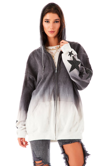 DIP DYE MIXED STAR PATCH ZIP UP SWEATSHIRT