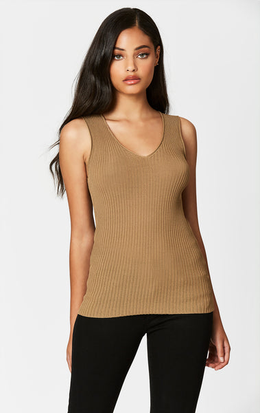 Carmar Denim: CAMEL SLEEVELESS RIB V NECK SWEATER - SWEATER TANK