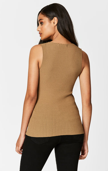 CAMEL SLEEVELESS RIB V NECK SWEATER