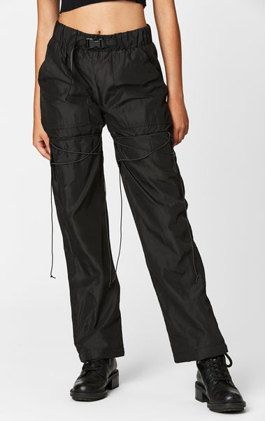 BUNGEE CORD LACE UP BUCKLE BELT PANT