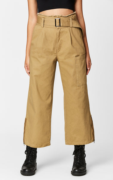 BUCKLE BELT WIDE LEG CROP PANT