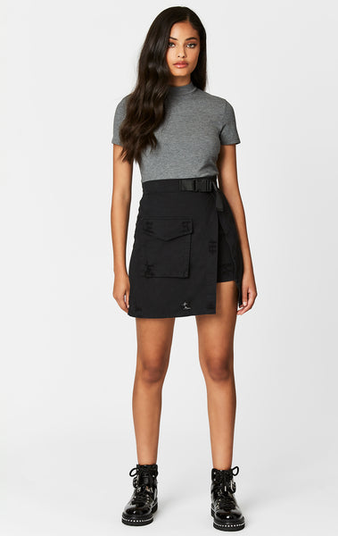 Carmar Denim: BIG CARGO POCKET ASYMMETRICAL BUCKLE SKIRT - IMPORT SKIRT