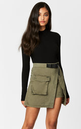 Carmar Denim: BIG CARGO POCKET ASYMMETRICAL BUCKLE SKIRT - IMPORT SKIRTS