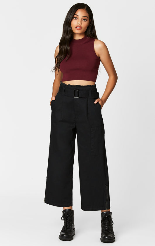 Carmar Denim: BUCKLE BELT WIDE LEG CROP PANT - PANT