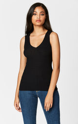 SLEEVELESS RIB V NECK SWEATER