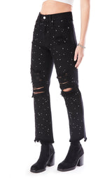 EMELIA RHINESTONE AND STUD MIX JEAN