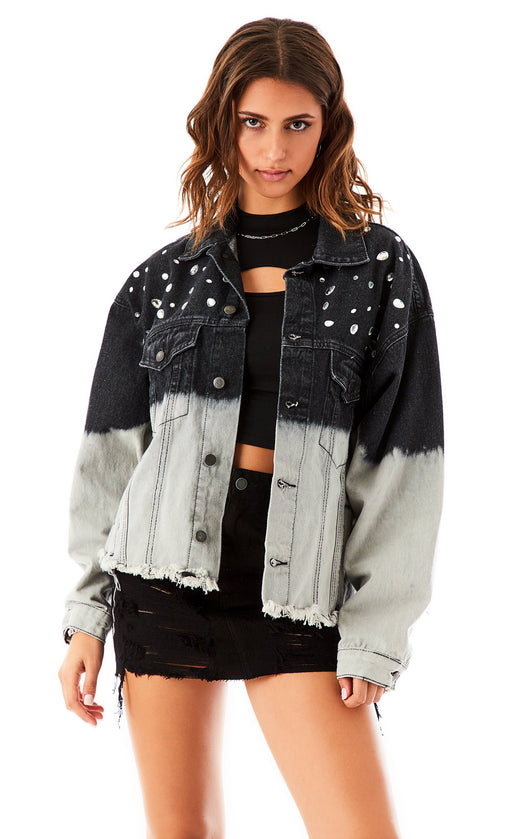 AUDREY DIP DYE JEWEL DENIM JACKET