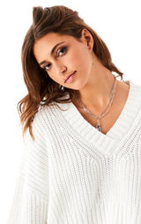 CROP V-NECK PULLOVER SWEATER