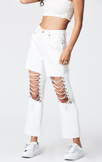WHITE LACE UP KNEE HERMIA JEAN
