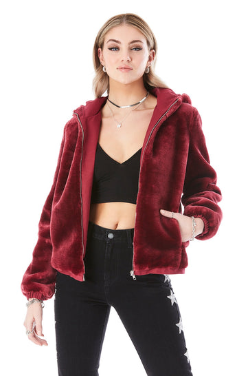 FUR HOODED BOMBER JACKET