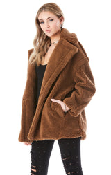 DOUBLE BREASTED OVERSIZED TEDDY COAT