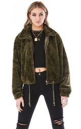 ZIP FRONT FUR CROP JACKET