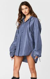 Carmar Denim: HOODED STRIPE LONG SHIRT - WOVEN TOP