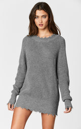 Carmar Denim: OVERSIZED SHREDDED EDGE CREW NECK SWEATER - SWEATER