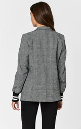 PLAID JACKET WITH ATHLETIC RIB CUFF