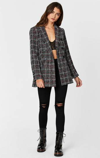 BOUCLE PLAID DOUBLE BREASTED JACKET
