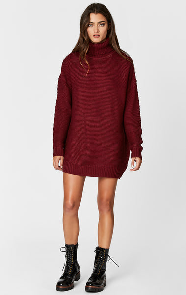 WAFFLE KNIT TURTLENECK SWEATER DRESS