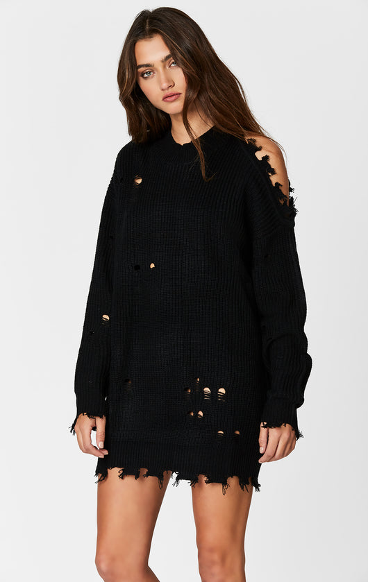 SHREDDED LONG SLEEVE SHOULDER CUTOUT SWEATER