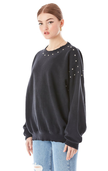 OVERSIZED STUD TRIM SWEATSHIRT